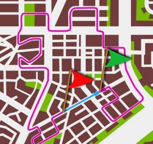 Skizze eines Stadtplans